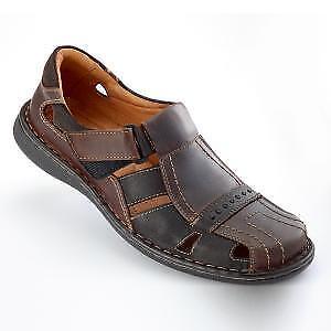 Herren-Sandale-Ledersandale-Leder-Sandale-Herrenschuh-braun-Klett-Verschluss-40