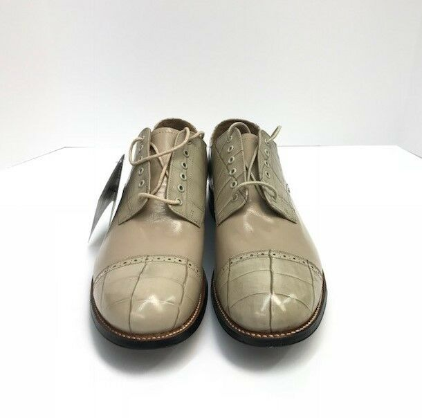 Stacy Adams Men's Oxford Dress shoes Taupe Crocodile Print Madison Sizes 9D-10D