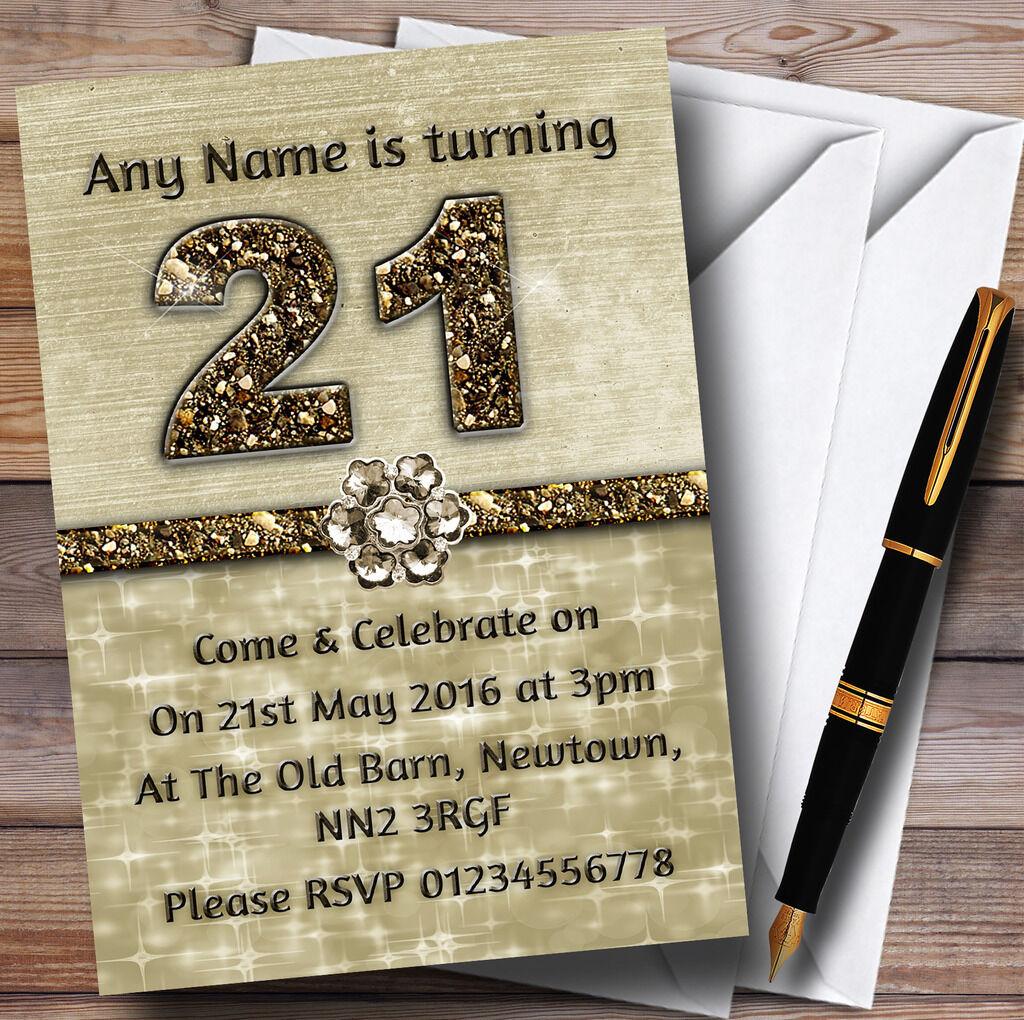 TITANIUM 21ème GOLD BRILLANT 21ème TITANIUM Fête D'anniversaire Personnalisé invitations 14950e