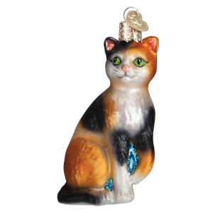 Old World Christmas CALICO CAT (12399)N Glass Ornament w/ OWC Box