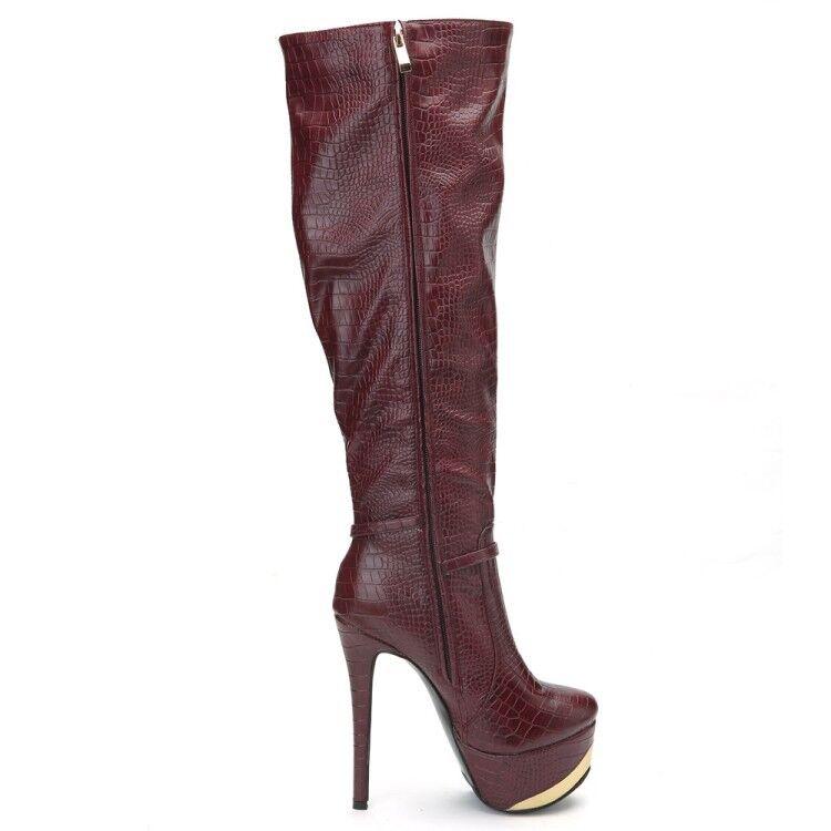 Womens Fashion Embossed Embossed Embossed Metal Decor Platform High Heel Over Knee Boots shoes ook 417233