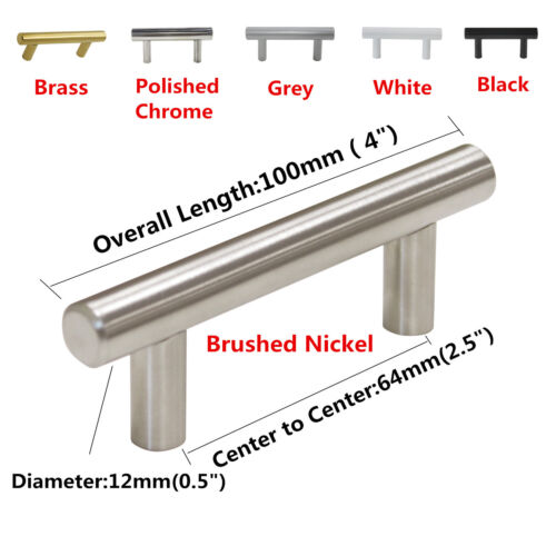 Brushed Stainless Steel Cabinet Pull T Bar Kitchen Door Handles Cupboard Knobs