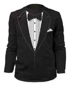 buy best aliexpress order Details about TUXEDO TSHIRT TUX FUNNY PROM WEDDING GROOM COSTUME OUTFIT  LONG SLEEVE T SHIRT
