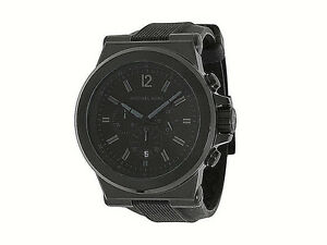 2abec669766d NIB Michael Kors Men s Watch Black Silicone Blackout SS Case DYLAN ...