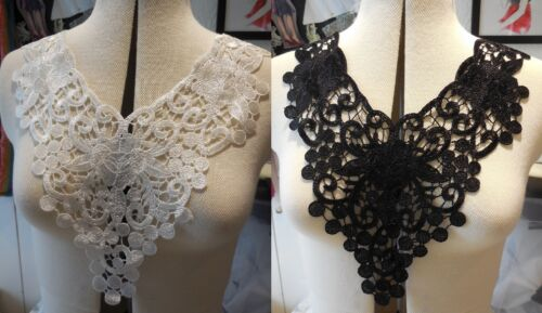 Black or ivory floral lace collar applique patches V neckline collar lace motif