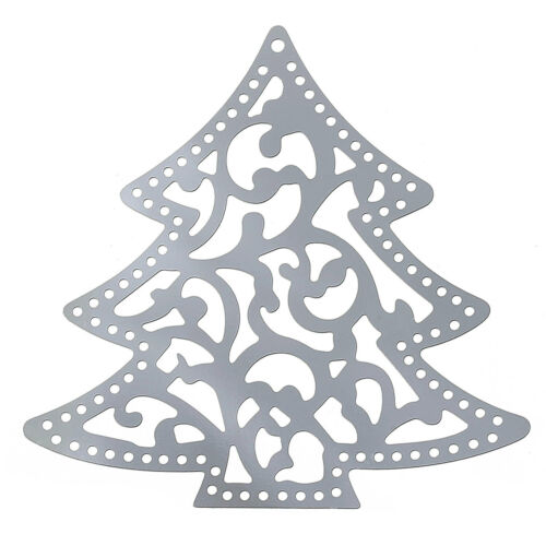 10 LARGE SILVER FILIGREE CHRISTMAS TREE PENDANT~41mm~EMBELLISHMENTS~CARDS X79