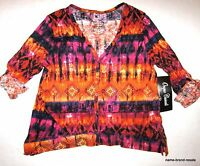 Onque Womens L Large Orange Pink Print V-neck Cardigan Shirt Top