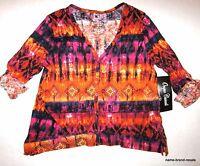 Onque Womens L Large Orange Pink Print V-neck Cardigan Shirt Top