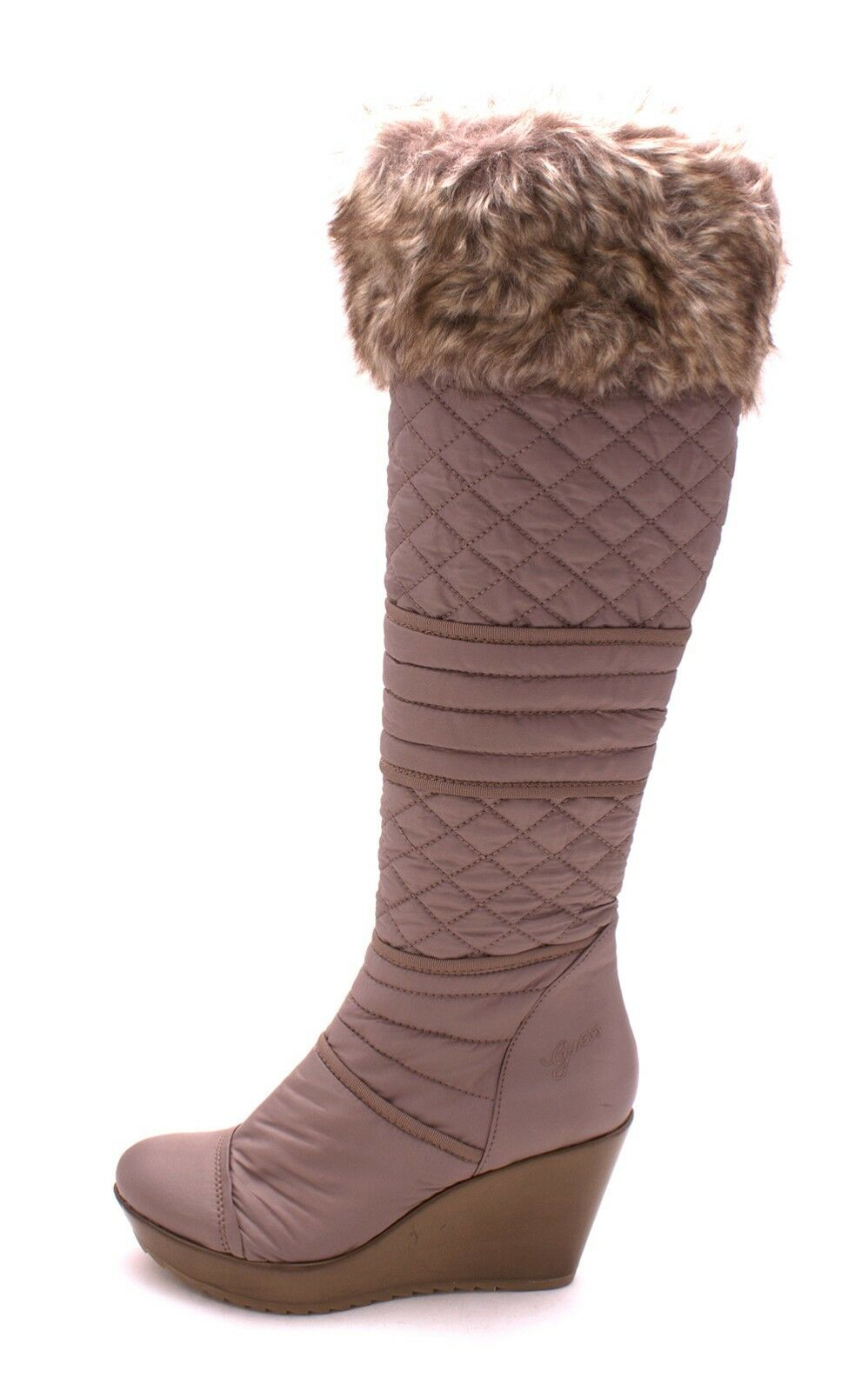 GUESS POZITA LOGO QUILTED NYLON FUR WEDGE TALL BOOTS US 10 I LOVE SHOES