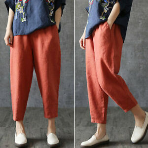 Ladies-Casual-Loose-Fit-Pants-Harem-Elastic-High-Waist-Bottoms-Cropped-Trousers