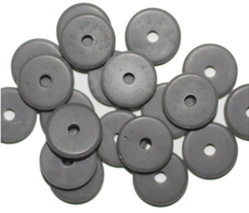 Matte Gray Washer Czech Pressed Glass Beads 14mm pack of 20