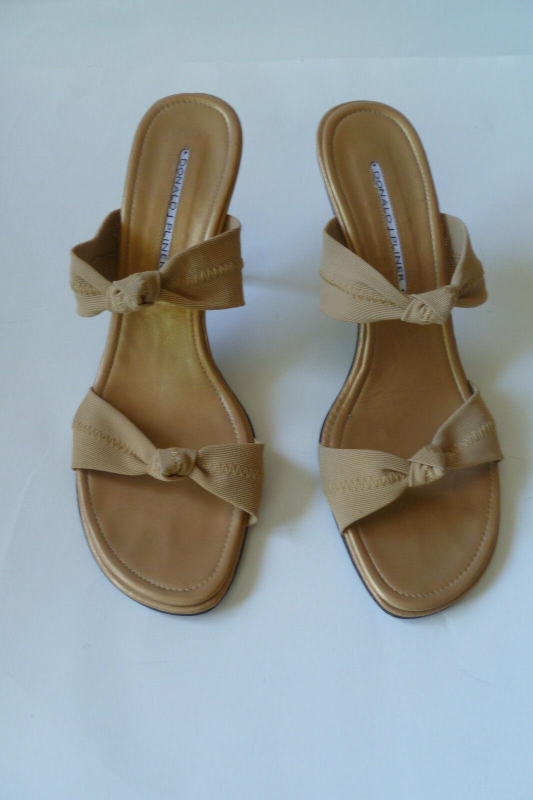 DONALD J PLINER high heel slide sandal taupe and gold size 10 M