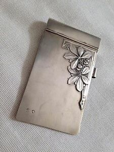 Antique sterling SILVER 875 ART DECO NOTE PAD HOLDER cover ENGRAVED Dina 1928 - London, United Kingdom - Antique sterling SILVER 875 ART DECO NOTE PAD HOLDER cover ENGRAVED Dina 1928 - London, United Kingdom
