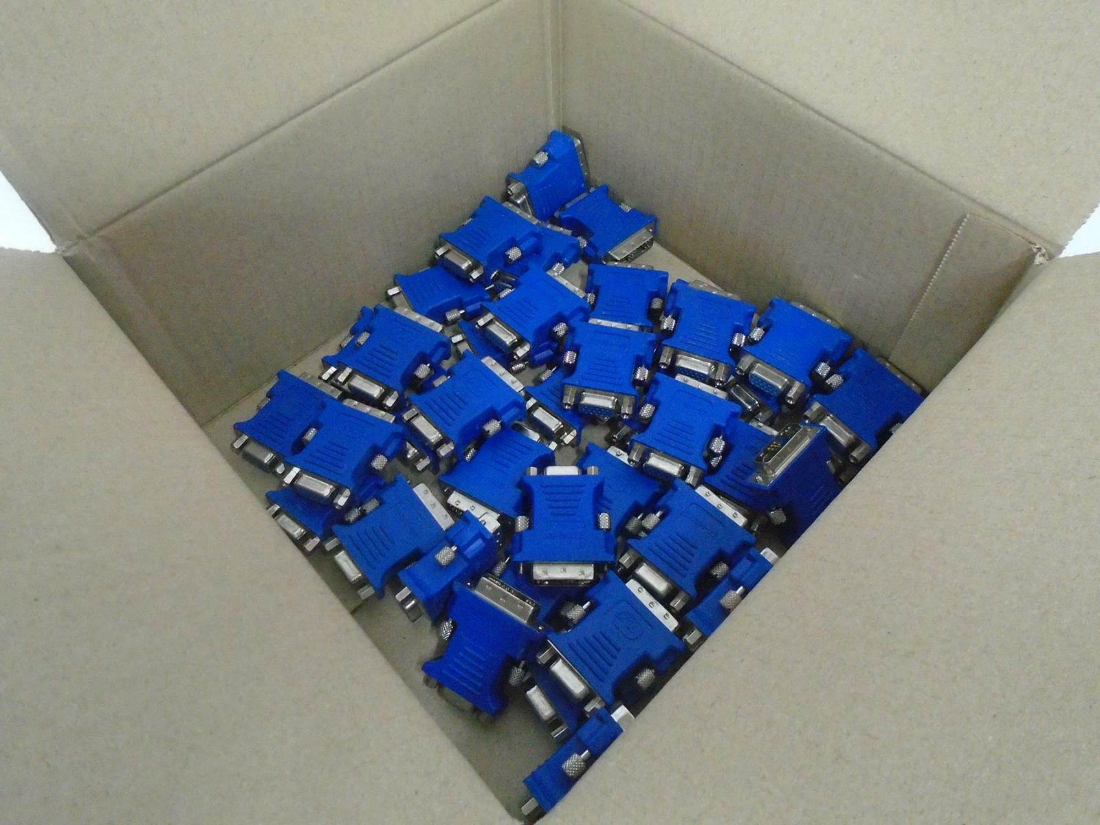40 X Used DVI-I To VGA Adapter For PC Computer Laptop (Blue) (Untested/Varied)