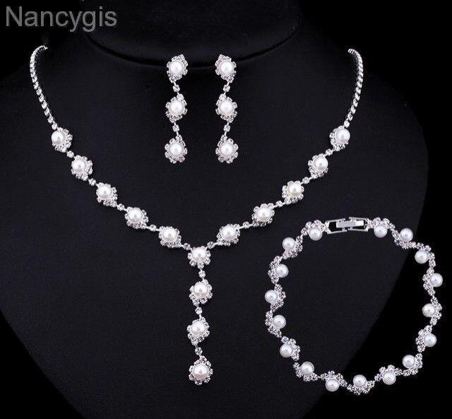 Silver Crystal Pearl Necklace Bracelet Earrings Bridal Wedding Jewellery Set