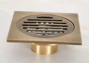 Antique-Brass-Bathroom-Floor-Drain-4-034-Square-Washer-Shower-Waste-Drainer-shr047