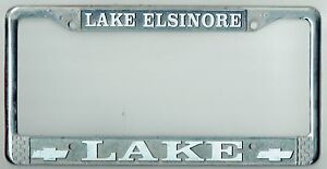 RARE-Lake-Elsinore-California-Lake-Chevrolet-Vintage-Dealer-License-Plate-Frame