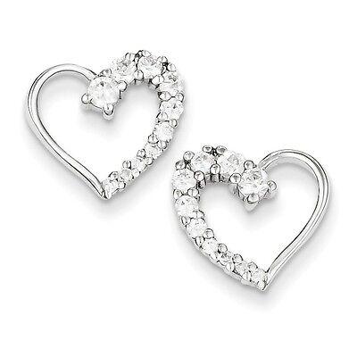 Sterling Silver Cubic Zirconia Heart Journey Stud Post Earrings