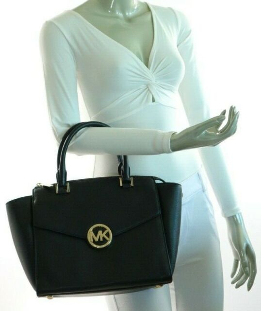 f9b3f1d49c73 Michael Kors Hudson Leather Large Satchel 35h4ghus3l MRSP Black for ...