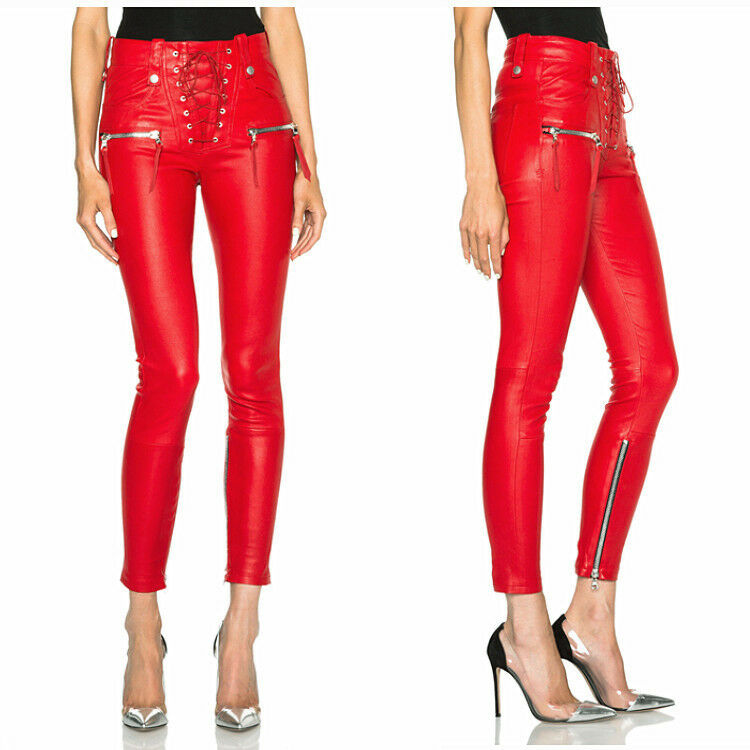 Ladies red pu leather skinny ninth length pencil pant punk trouser Sexy clubwear