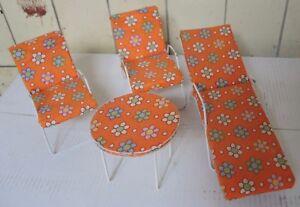 Campingset Barbie Camping Chaise Longue 2 Chaises Table -- 70er Ans Bon État