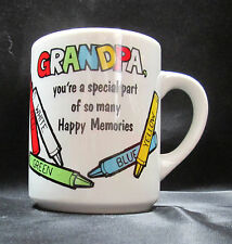 Grandpa Special Happy Memories Crayons White Ceramic Coffee Cup Mug Abbey Press