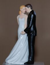 Romantic Porcelain Wedding Bliss Bride and Groom Wedding Cake Topper Figurine