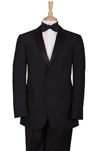2-Piezas-Traje-Chaqueta-de-esmoquin-negro-corbata-abotonadura-simple-amp-Trousers