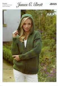 f1b5be0a1 Image is loading James-C-Brett-JB425-Knitting-Pattern-Hooded-Cardigan-