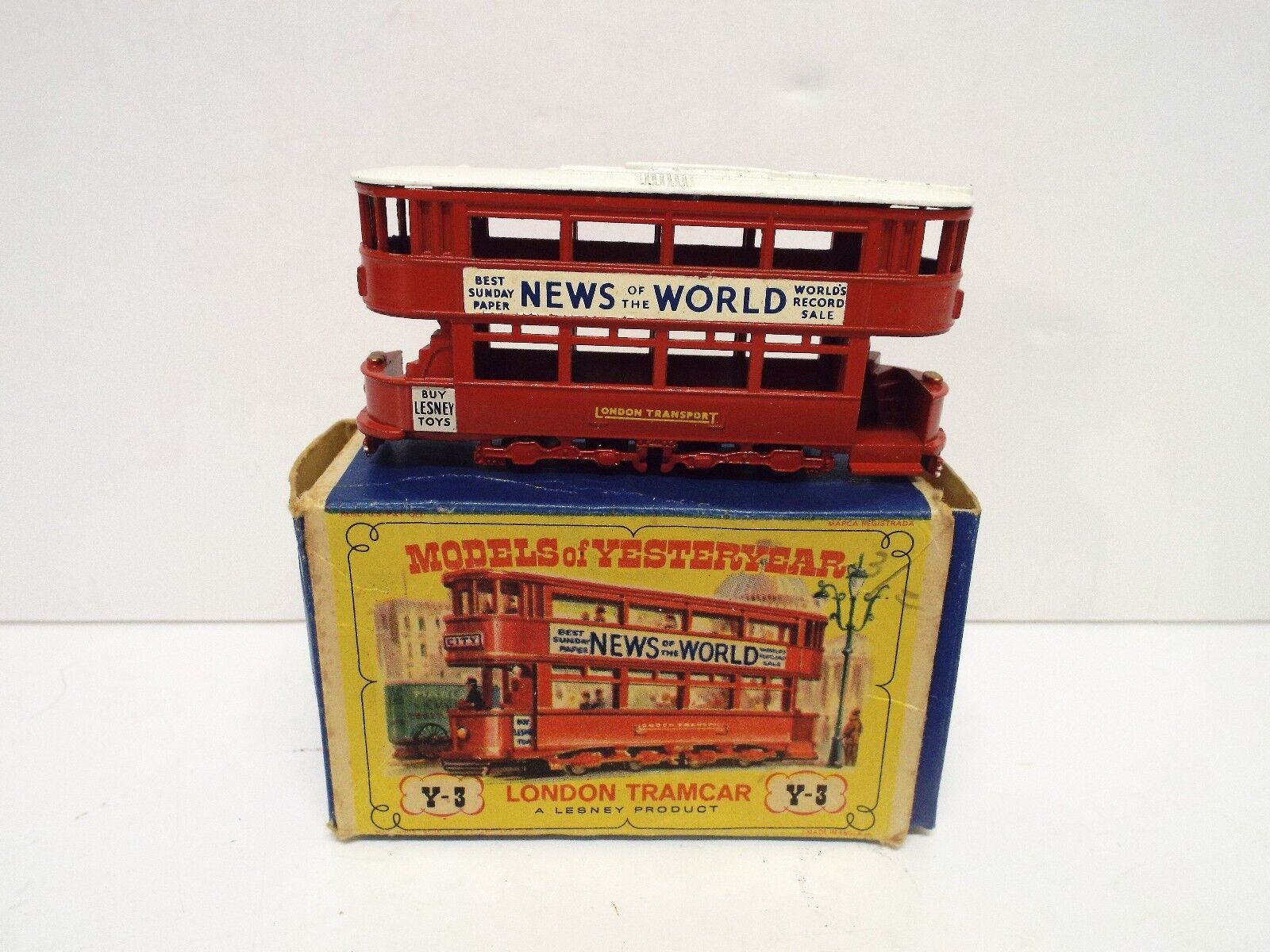 MATCHBOX YESTERYEAR Y-3 LONDON TRAMCAR NEWS OF THE WORLD BOXED (MB114)
