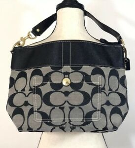 4c5338e3426 Details about Coach Large Tote Purse Leather Trim Fabric Zip Close Black  Gray L0771-11689