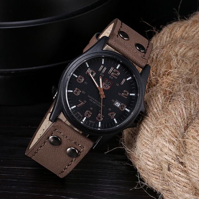 Vintage Classic Mens DAILY Waterproof Date Leather Strap Sport Quartz Army Watch