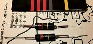Pair-of-New-Luxe-022-Bumblebee-paper-in-oil-capacitors-for-Les-Paul-SG-ES335