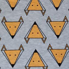 Cotton lycra sweatshirt knit jersey FOX print on grey melange children's fabric