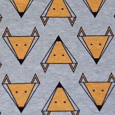 Cotton lycra sweatshirt knit jersey FOX print on grey melange children's fabric