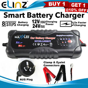 Smart-Battery-Charger-2A-5A-10A-12V-24V-Automatic-9-stages-SLA-Car-4WD-Maxxlee