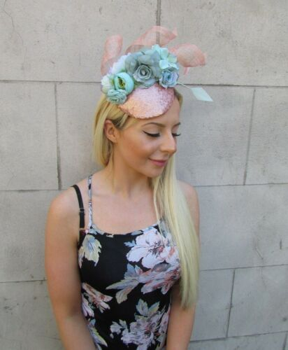 Mint Green Rose Gold Flower Feather Hat Hair Fascinator Races Ascot Floral 5844