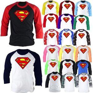 Details about Superhero Superman 3/4 Sleeve Raglan Baseball TShirts Jersey  Vintage Top Shirt