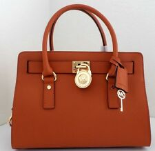 NWT Michael Kors Hamilton Orange Saffiano Leather East West Medium Satchel Bag