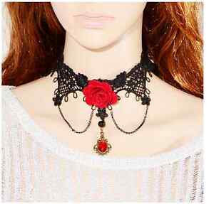Women-039-s-Red-Lace-Necklace-Beads-Choker-Victorian-Steampunk-Style-Gothic-Collar