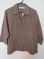 Women's Apparenza Mervyns Button-down Brown 3/4 Sleeve Shirt Plus Size 1x