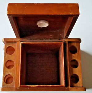 Vintage-Tobacco-Humidor-and-6-Pipe-Stand-Holder-Display-w-Aztec-Moistener-Stone