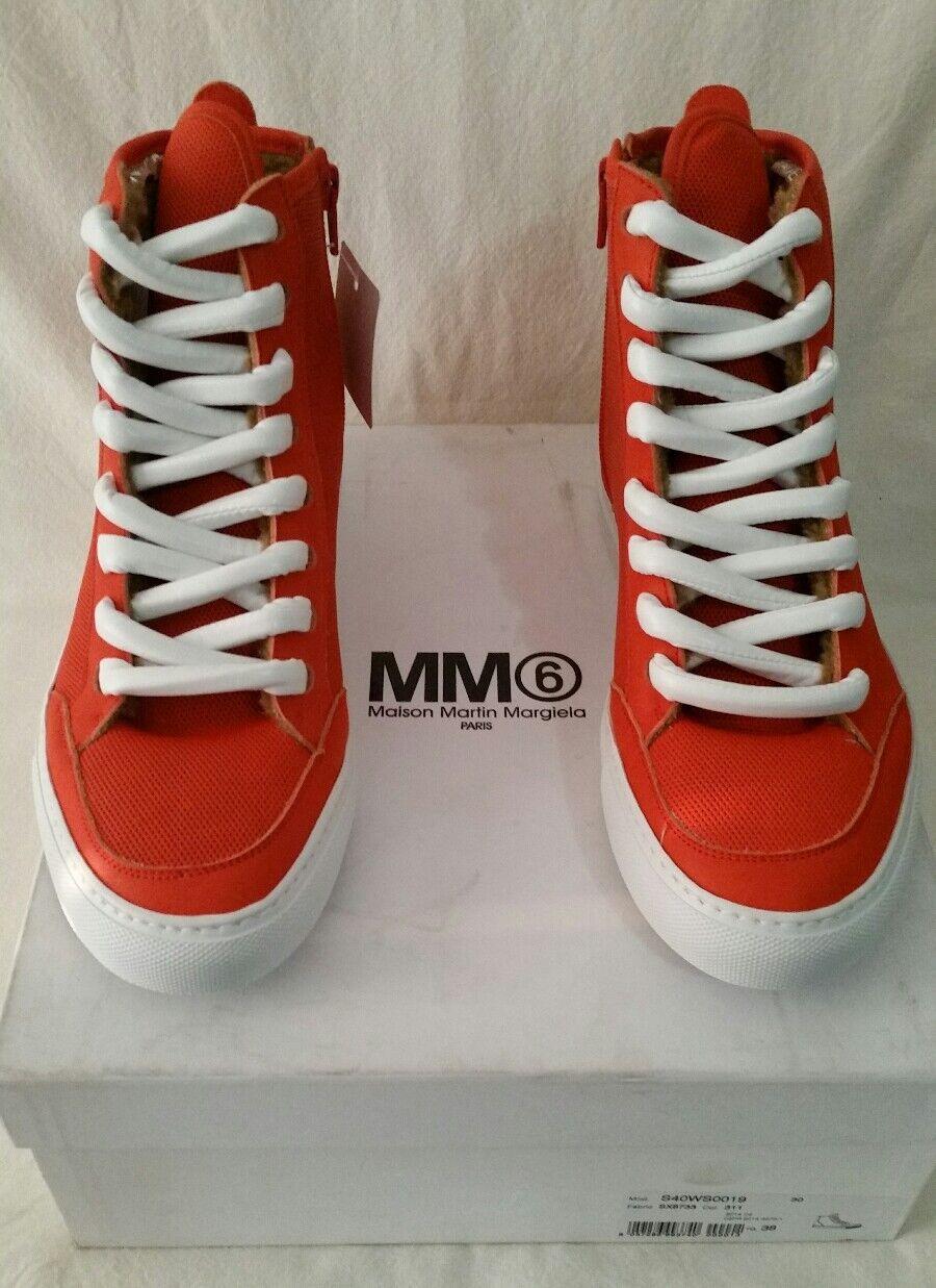 MM6 Maison Margiela Women's orange Leather Canvas Hi Top Sneakers US 8 EU 38