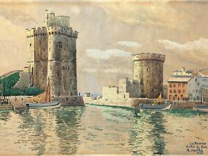 Aquarelle-Port-La-Rochelle-Apres-Guerre-1946-a-Identifier-Antique-French-Paint
