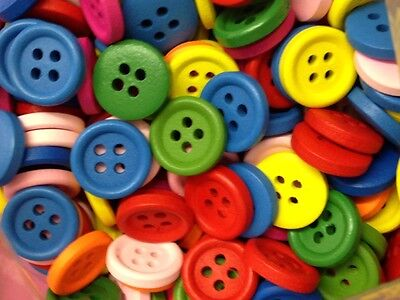 25 Assorted Colour and Design Wooden 2 holes Wooden Sewing Buttons 15mm.