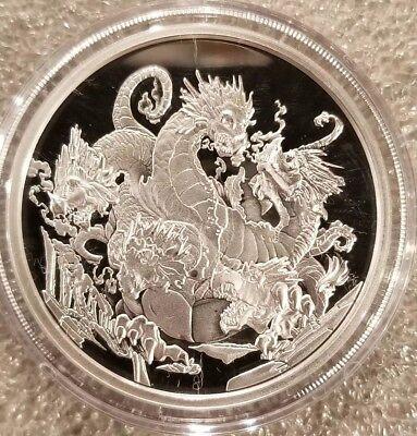 1 oz .999 Silver Proof ICE HYDRA Dragon Fantasy Faun Queen Rare Elements Viking