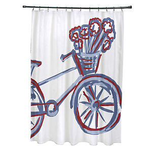 E By Design La Bicicleta Print Shower Curtain Buddha 74 X 71 Ebay