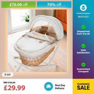 IzziWotNot Light/Natural Wicker Moses Basket-Cream Bedding