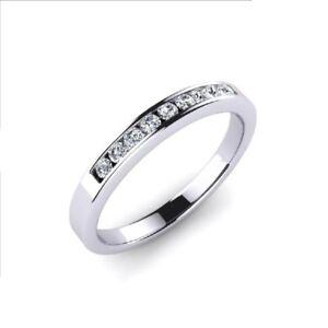 F-VS-0-11Ct-Round-Brilliant-Cut-Diamonds-Channel-Set-Half-Eternity-Wedding-Ring