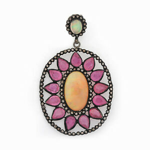 Solid-925-Sterling-Silver-5-20Ct-Opal-amp-Pear-Shape-Ruby-Gemstone-Diamond-Pendant